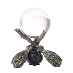 Nemesis Now Witchcraft Gazing Crystal Ball Broom and Cauldron Nemesis Now Witchcraft Gazing Crystal Ball Broom and Cauldron, Wicca Crystal Ball
