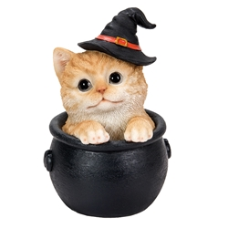 Orange Tabby Cat in Cauldron Statue witchy cat, witchs familiar, witch kitten, black cat, kitten in tea cup, Halloween cat, Orange Tabby Cat in Cauldron Statue