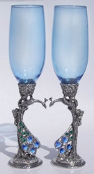 Peacock Pair Toasting Wine Glasses