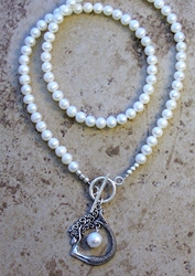 Pearl Necklace with Sterling Silver Mermaid Drop