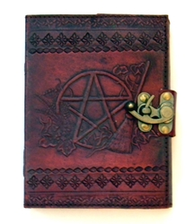 Pentagram Leather Embossed Journal by Sabrina the Ink Witch