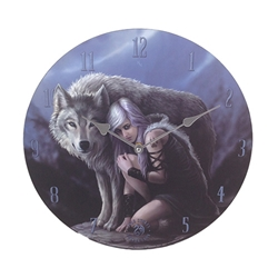 Protector Wolf  Clock by Anne Stokes