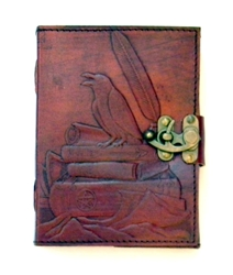 Raven on Books Embossed Leather Journal by Sabrina the Ink Witch