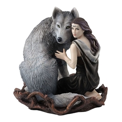 SOUL BOND Woman and Wolf Statue By Anne Stokes  AWAKEN YOUR MAGIC Owl Plaque By Anne Stokes, Flying owl, Owl with pendant statue, white owl plaque