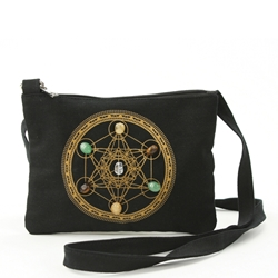 Sacred Geometry Wealth and Prosperity Crystal Grid Crossover Bag  Sacred Geometry Wealth and Prosperity Crystal Grid Crossover Bag