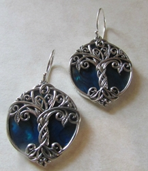 Silver Tree of Life Earrings with Blue Abalone Shell