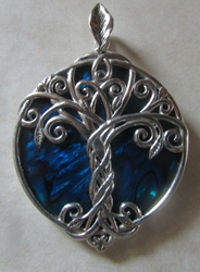 Silver Tree of Life Pendant with Blue Abalone Shell