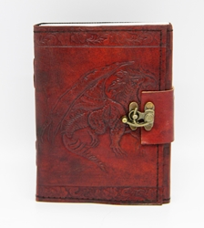 Single Dragon Leather Embossed Journal with Metal Lock