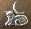 Sterling Silver Cat Familiar with Moon Pendant