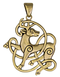 Bronze Celtic Stag Pendant by Dryad Designs