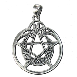 Sterling Silver Crescent Moon Pentacle Pendant with Circle