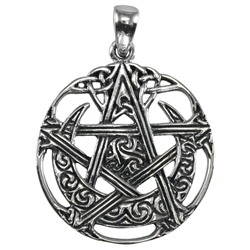 Sterling Silver Cut Out Moon Pentacle Pendant Dryad Designs by Paul Borda