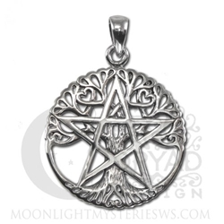Sterling Silver Cut Out Tree Pentacle Pendant