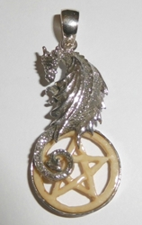 Sterling Silver Dragon Carved Bone Pentacle Pendant