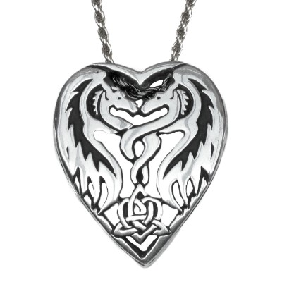 Sterling Silver Dragon Heart Pendant by Deva Designs