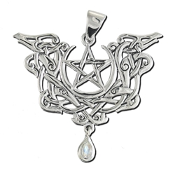 Sterling Silver Dragon Pentacle Pendant with Rainbow Moonstone Dryad Designs by Paul Borda