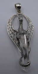 Sterling Silver Dragon and Crystal Pendant
