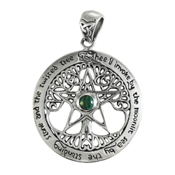 Sterling Silver Extra Large Cut Out Tree Pentacle Pendant Dryad Designs by Paul Borda