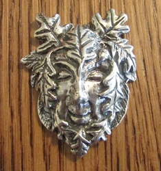 Sterling Silver Large Jovial Greenman Pendant
