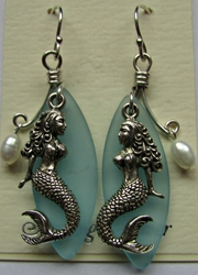 Sterling Silver Mermaid Earrings with Sea Glass
