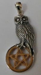 Sterling Silver Owl Totem Carved Bone Pentacle Pendant