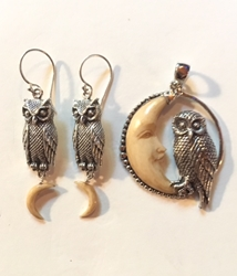 Sterling Silver Owl and Carved Moon Pendant & Earring Set Sterling Silver Owl and Carved Moon Pendant & Earring Set, owl pendant, moon earrings, owl earrings