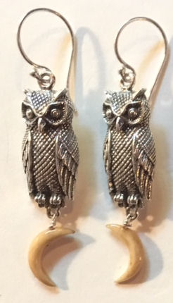 Sterling Silver Owl and Moon Earrings