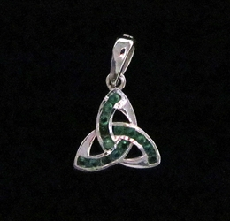 Sterling Silver Triquetra with Green CZ- Medium Pendant