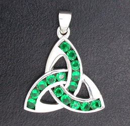 Sterling Silver Triquetra with Green Crystal-Large Pendant