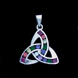 Sterling Silver Triquetra with Rainbow CZ- Medium Pendant