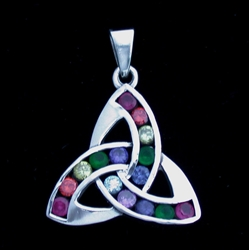 Sterling Silver Triquetra with Rainbow Crystals Large Pendant