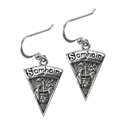 Sterling Silver Wheel of the Year Sabbat Earrings