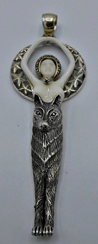 Sterling Silver Carved Wolf Goddess Pendant