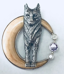 Sterling Silver Wolf and Carved Moon Pendant Sterling Silver Wolf and Carved Moon Pendant