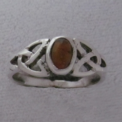 Sterling Triquetra Silver Celtic with Amber Ring