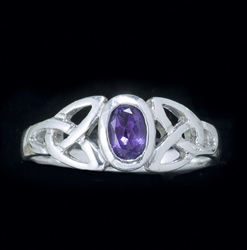 Sterling Triquetra Silver Celtic with Amethyst Ring