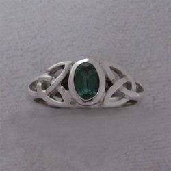 Sterling Triquetra Silver Celtic with Hydro Emerald Ring