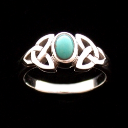 Sterling Triquetra Silver Celtic with Turquoise Ring
