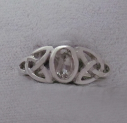 Sterling Triquetra Silver Celtic with White Topaz Ring