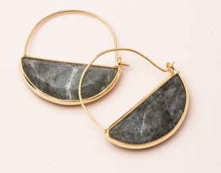 Crystal Prism Hoop Earrings -  Labradorite/Gold Stone Prism Hoop Earring -  Labradorite/Gold