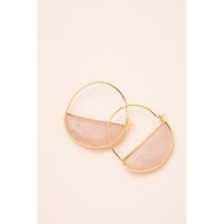 Crystal Prism Hoop Earrings - Rose Quartz/Gold  Stone Prism Hoop Earring - Rose Quartz/Gold