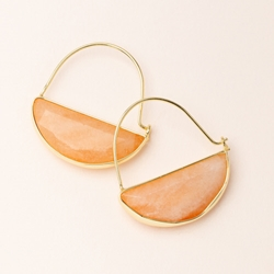 Crystal Prism Hoop Earrings - Sunstone/Gold Stone Prism Hoop Earring - Sunstone/Gold