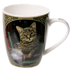 Striped Cat Crystal Ball Fortune Teller New Bone China Mug 12908 Fortune Teller New Bone China Mug, striped cat, crystal ball
