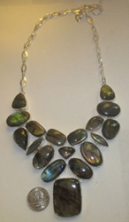 Stunning Bold Labadorite Sterling Silver Necklace Amazing Price!  Necklace fits 18""