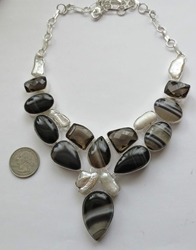 Stunning Bold Sardonyx Smoky Quartz and Pearl Sterling Silver Necklace Collar