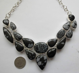 Stunning Bold Snowflake Obsidian Sterling Silver Necklace Collar