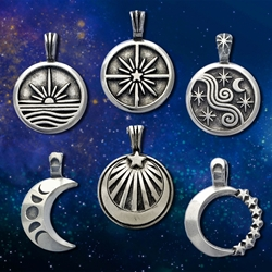 Pewter Sun, Moon and Star Pendants by Deva Designs  Sun, Moon and Star Pendants by Deva Designs, mystical pendants, cosmic pendants
