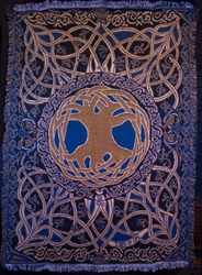 TREE of LIFE gold/blue/black/natural TAPESTRY AFGAN THROW by Artist Jen Delyth