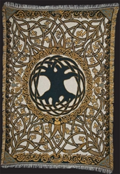 TREE of LIFE natural/gold/green TAPESTRY AFGAN THROW by Artist Jen Delyth