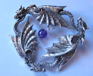 Three Dragon Pendant w/ Amethyst Three Dragon Pendant w/ Amethyst, Daenerys pendant, Dragon pendant
